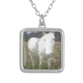 Customize Nice White Horse Silver Plated Necklace