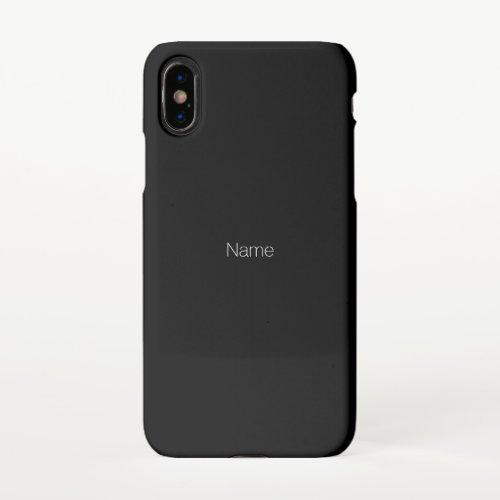 Customize personalize Name text monogram black iPhone X Case