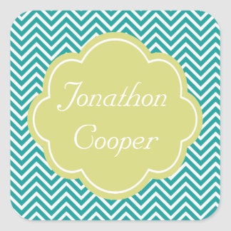 Customize, personalize teal and lime chevron square sticker