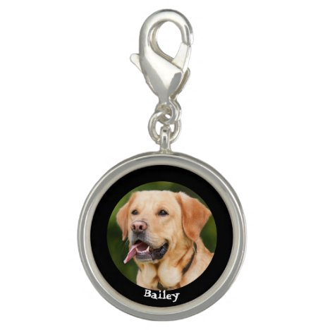 Customize Pet Photo Charm Dog Cat Black Silver
