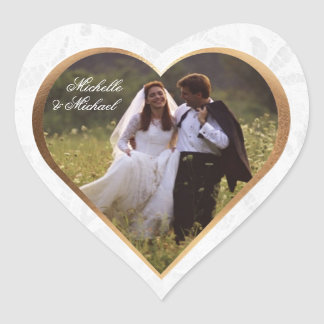 Customize Photo Wedding Thank You Heart Sticker