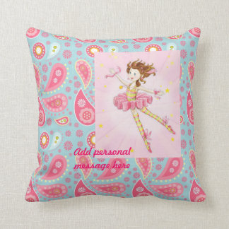 Customize Pink Blue Paisley Flower Fairy Ballerina Throw Pillow