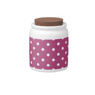 Customize Pink Polka Dot Candy Dish