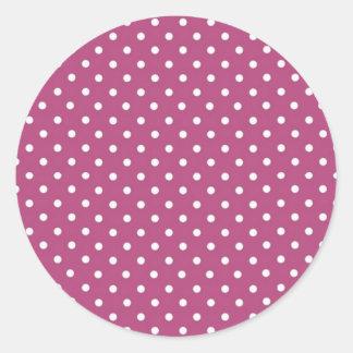 Customize Pink Polka Dot Classic Round Sticker