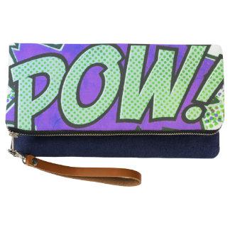 customize POW purple green hand clutch