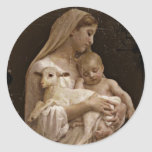 """Customize Product Classic Round Sticker<br><div class=""""desc"""">Vintage Madonna,  Baby Jesus Christ and a little Lamb.  Fine art painting in soft rose and taupe.</div>"""