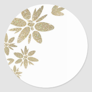 Customize Product gold sparkle flowers on white Classic Round Sticker