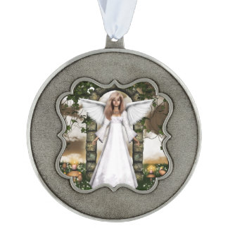 Customize Product Scalloped Pewter Ornament