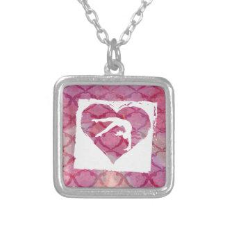 Customize Product Personalized Gymnastics Dance Square Pendant Necklace
