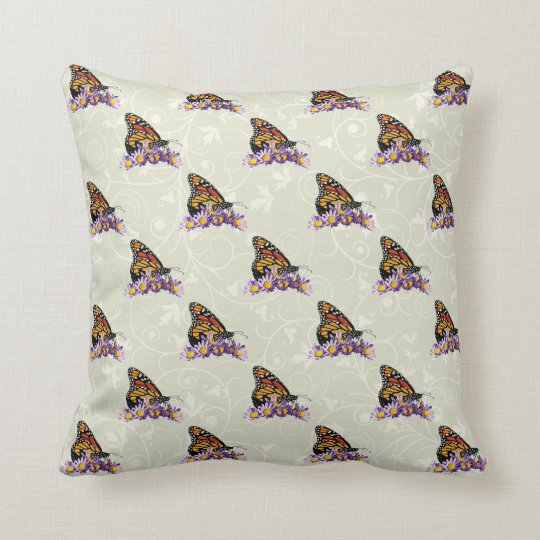 Customize ProductMonarch Butterfly on Asters Throw Pillow