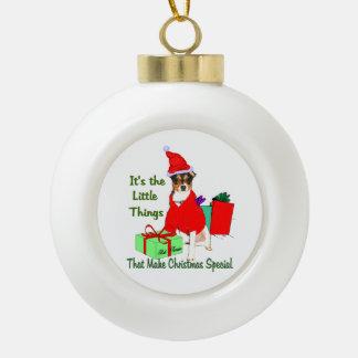 Customize PrRat Terrier Christmas Ceramic Ball Christmas Ornament