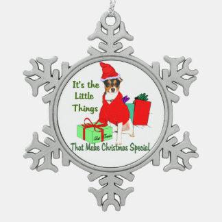 Customize PrRat Terrier Christmas Snowflake Pewter Christmas Ornament
