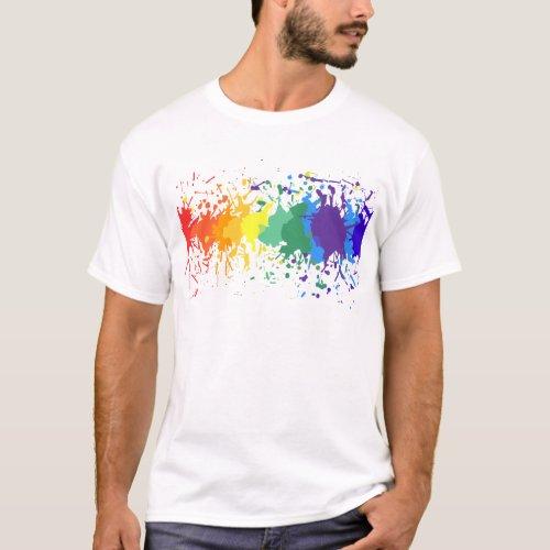 CUSTOMIZE RAINBOW PAINT SPLASH DRIPS GAY PRIDE T-Shirt