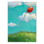 CUSTOMIZE Red Balloon - blue sky beautiful day art Cards
