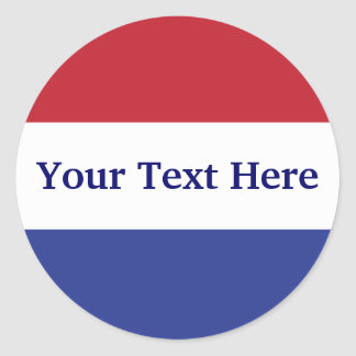 customize red, white and blue design classic round sticker