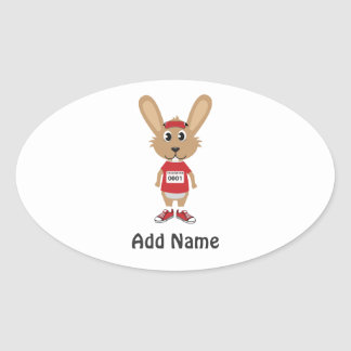 Customize Running Bunny Oval Sticker