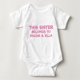 Customize sibling names on baby Sister's Shirt