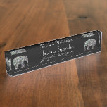 Customize Sparkly colorful silver mosaic Elephants Name Plate