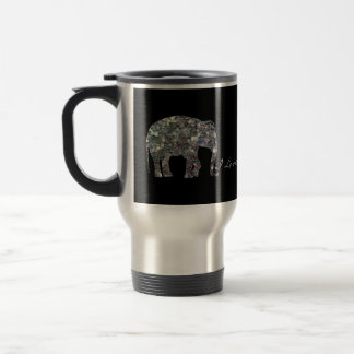 Customize Sparkly colorful silver mosaic Elephants Travel Mug