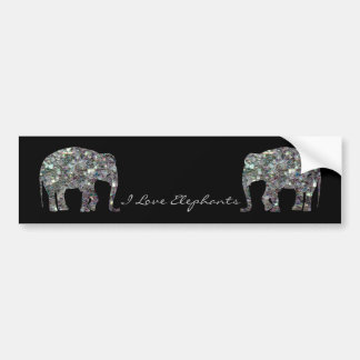 Customize Sparkly colourful silver mosaic Elephant Car Bumper Sticker