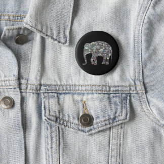 Customize Sparkly colourful silver mosaic Elephant Button