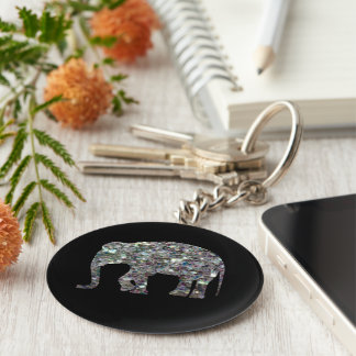 Customize Sparkly colourful silver mosaic Elephant Keychain