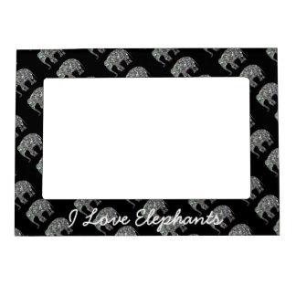 Customize Sparkly colourful silver mosaic Elephant Magnetic Frame