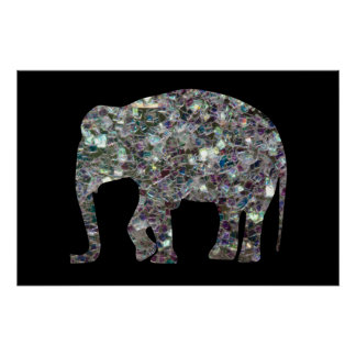 Customize Sparkly colourful silver mosaic Elephant Poster