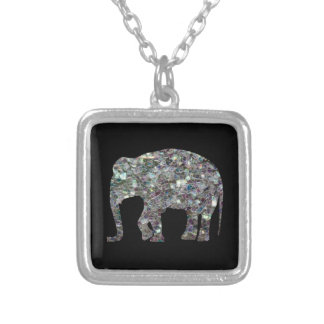 Customize Sparkly colourful silver mosaic Elephant Square Pendant Necklace