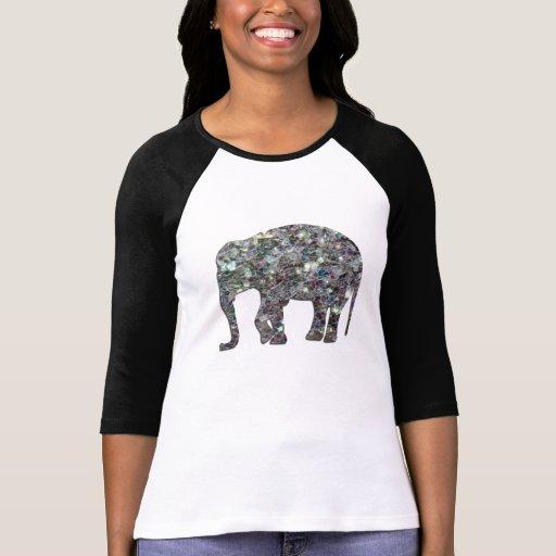 Customize Sparkly colourful silver mosaic Elephant Tshirt