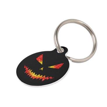 Halloween Themed Customize Sparkly Jack O'Lantern face Halloween Pet ID Tag