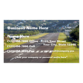 (Customize) St. Lucia Plane and Airstrip photo Double-Sided Standard Business Cards (Pack Of 100)