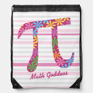 Customize Striped Pink Math Spring Pi Symbol Gift Drawstring Backpack