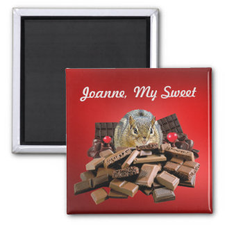 Customize Sweetest Day Chocolate Chipmunk Magnet