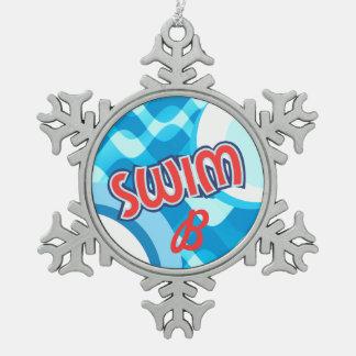 CUSTOMIZE - Swimmer Monogram Snowflake Pewter Christmas Ornament