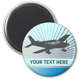 Customize Text - Low Wing Airplane 2 Inch Round Magnet