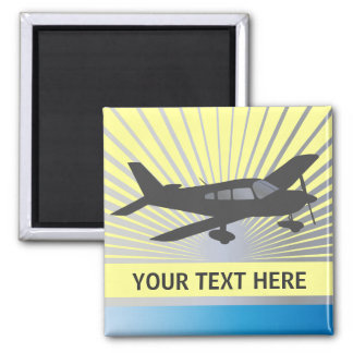 Customize Text - Low Wing Airplane 2 Inch Square Magnet