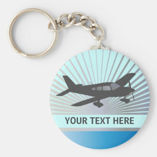 Customize Text - Low Wing Airplane Basic Round Button Keychain