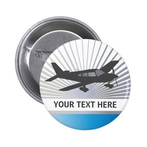 Customize Text - Low Wing Airplane Pinback Buttons