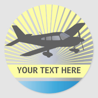 Customize Text - Low Wing Airplane Classic Round Sticker