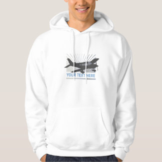 Customize Text - Low Wing Airplane Hooded Sweatshirt