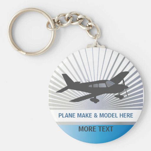 Customize Text - Low Wing Airplane Key Chain