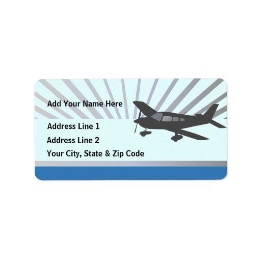 Customize Text - Low Wing Airplane Personalized Address Labels