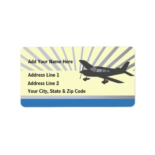 Customize Text - Low Wing Airplane Address Label