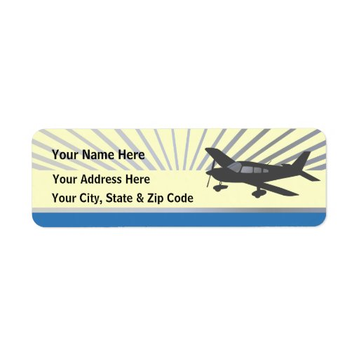 Customize Text - Low Wing Airplane Custom Return Address Label