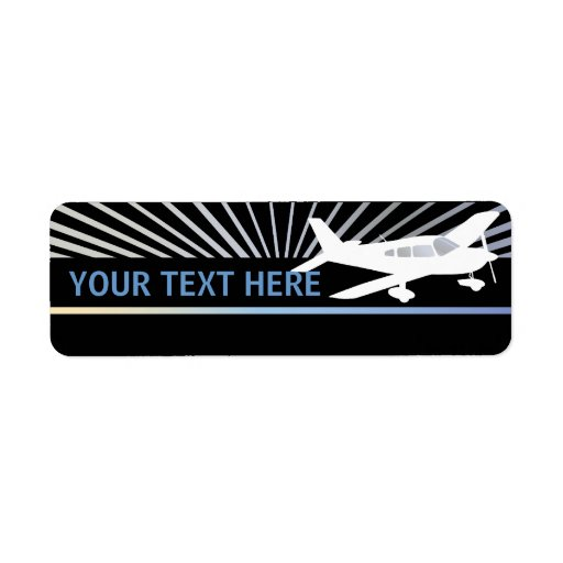 Customize Text - Low Wing Airplane Return Address Label
