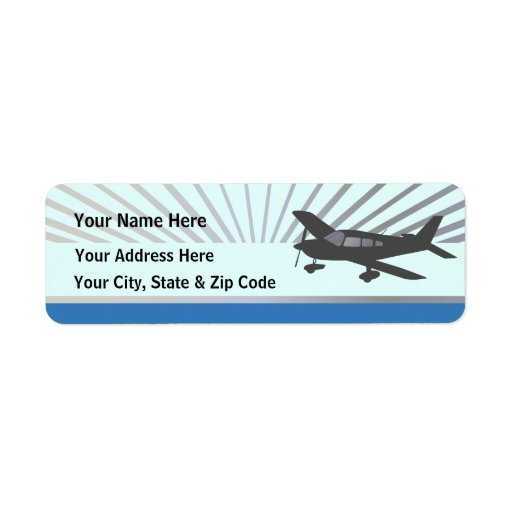 Customize Text - Low Wing Airplane Return Address Labels