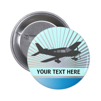 Customize Text - Low Wing Airplane Pinback Button
