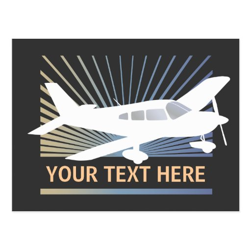Customize Text - Low Wing Airplane Post Card
