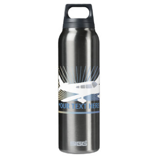 Customize Text - Low Wing Airplane Thermos Bottle